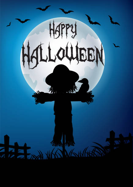 halloween-hintergrund mit vogelscheuche silhouette - herbstgemüseanbau stock-grafiken, -clipart, -cartoons und -symbole