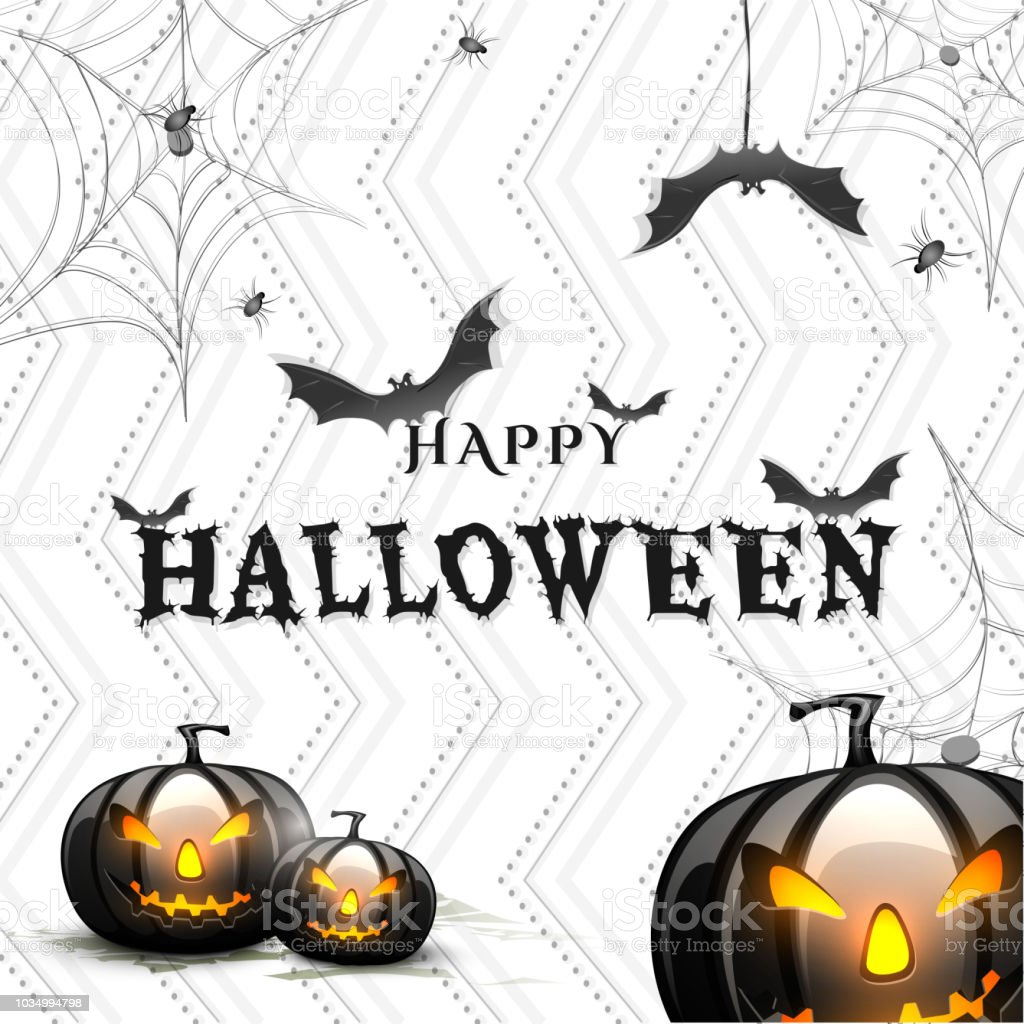 halloween background with scary pumpkins bats spider and web stock