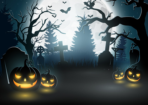 Halloween background with scary pumpkins