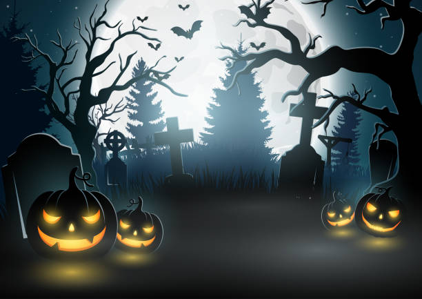 illustrazioni stock, clip art, cartoni animati e icone di tendenza di halloween background with scary pumpkins - cimitero