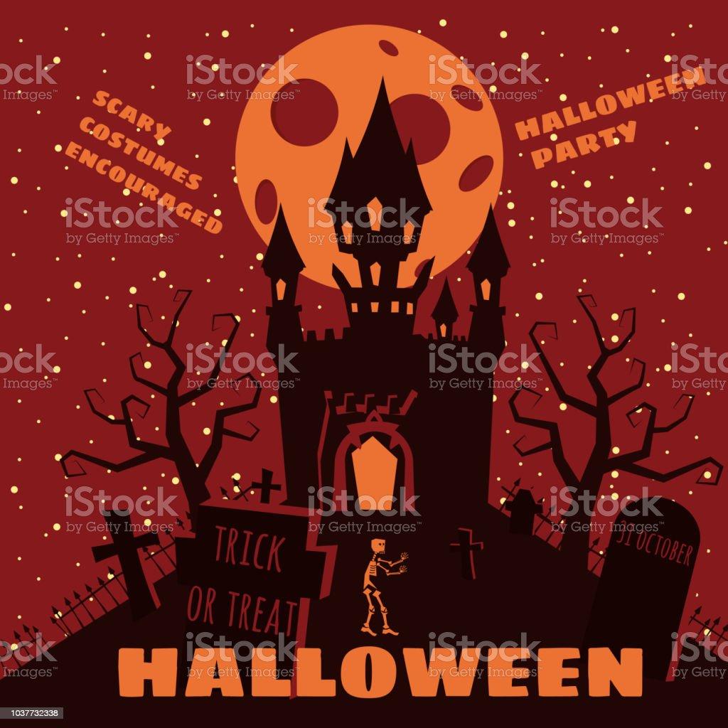 Halloweenhintergrund Mit Semetery Und Skelettaufbau Spukschloss Haus ...