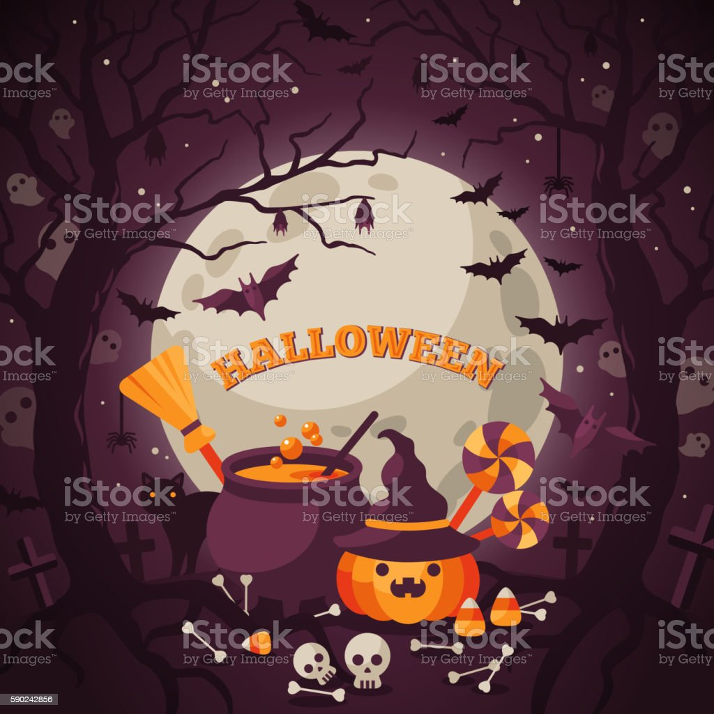 Halloween Background with Spooky Forest. vector art illustration