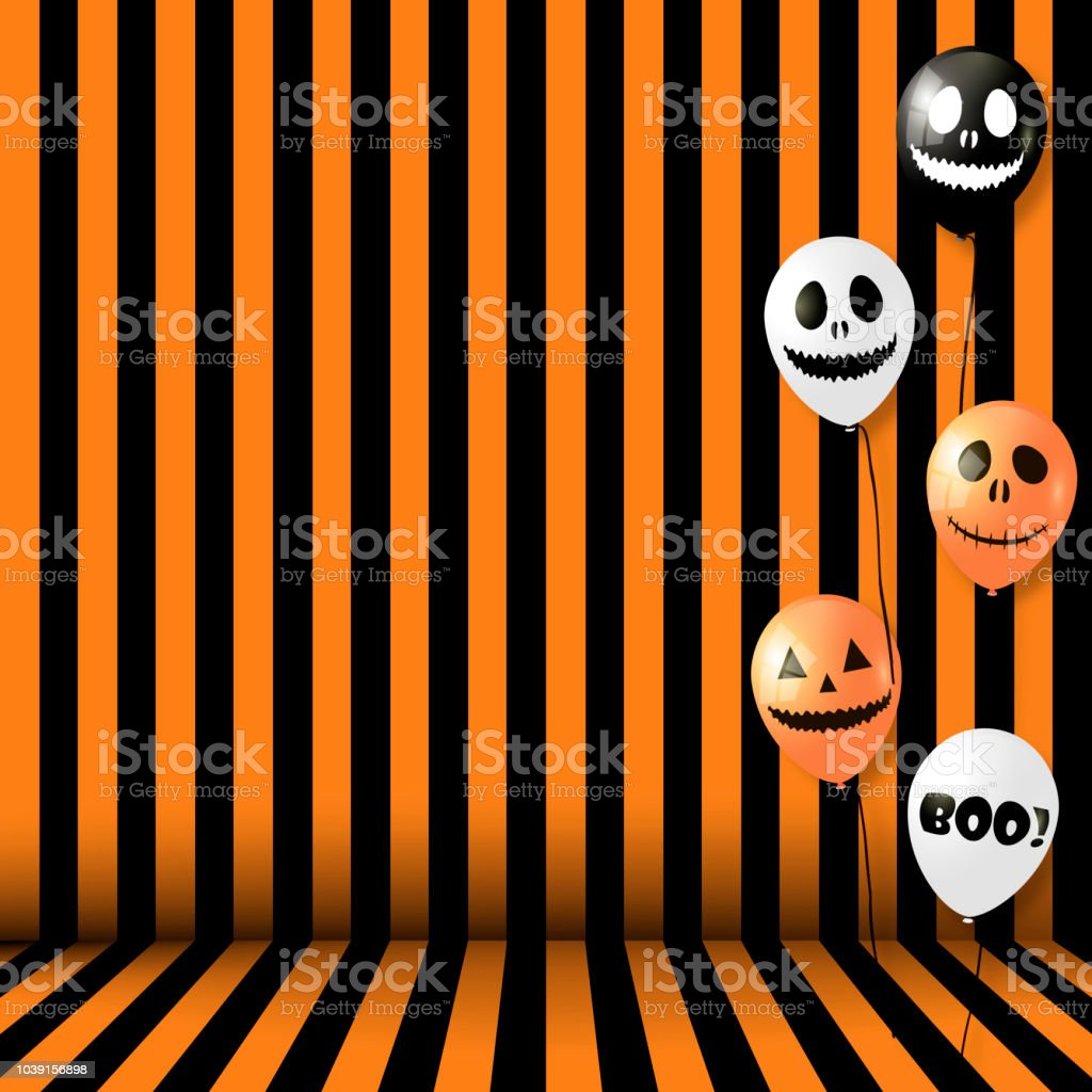 halloween background with striped room and balloons vector royalty free halloween background with