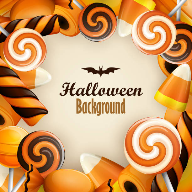 halloween background with sweets - halloween candy stock illustrations