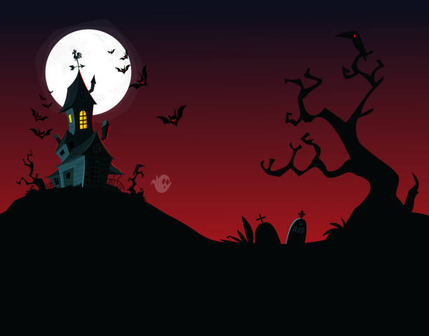 Halloween background with tombs, trees, bats, tombstones, gravey and hounted house Halloween background with tombs, trees, bats, tombstones, gravey and hounted house scary halloween scene silhouettes stock illustrations