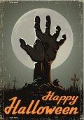Halloween background with zombie hand