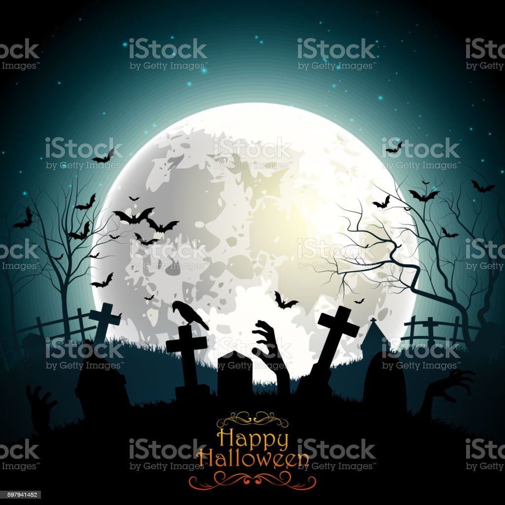 Halloween Background With Zombie Hands On The Full Moon Stock Vektor ...