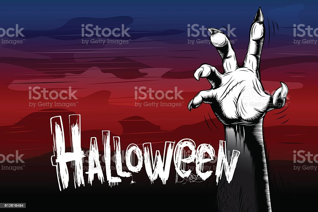 Halloween Background Zombie Hand Vintage Fog Title Sigh Tradition