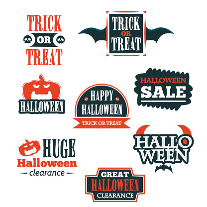 Halloween badge and label sticker collection. Halloween Party, Happy Halloween for sticker, label, banner, greeting card and invitation. Vector illustration.