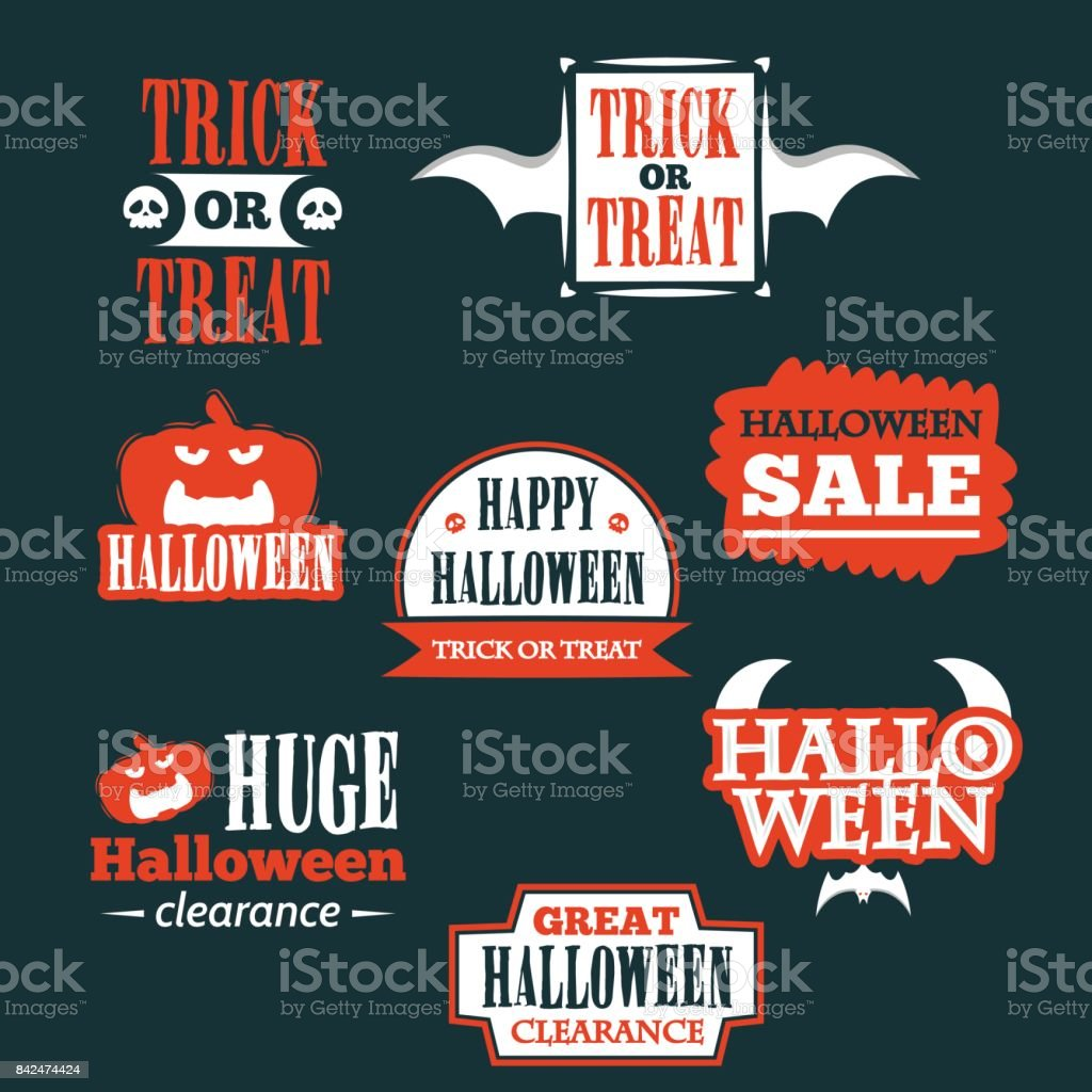 Halloween Badge And Label Sticker Collection Halloween Party Happy