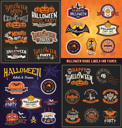 Halloween badge and label sticker collection. Halloween Party