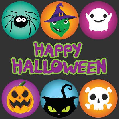 Halloween badges - Spider, Witch, Ghost, Pumpkin, cat, skull