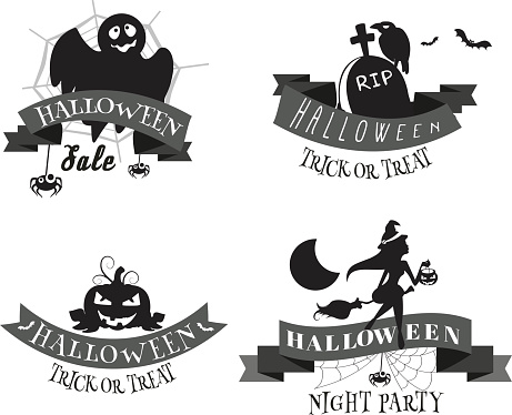 Halloween badges,banners and design elements