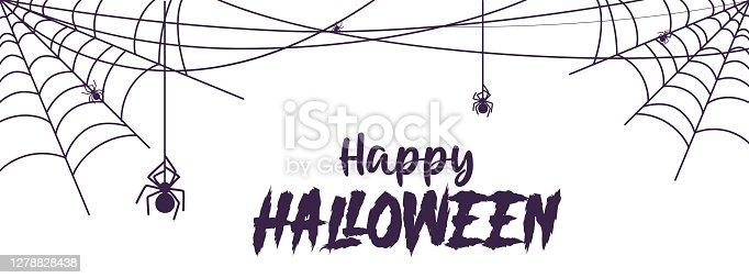 istock Halloween banner cobweb 1278828438
