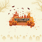 """This illustration is a background of the text for """"Halloween""""."""
