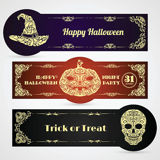 Halloween banner labels vector set Halloween banner labels vector set with ornate pumpkin, skull, witch hat and decorative frame. Poster, banner, party invitation, greeting card design. Happy Halloween mistery stock illustrations