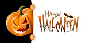 Halloween background with festive carved pumpkin and Happy Halloween text message. Vector illustration