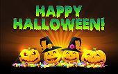 Halloween vector illustration of pumpkins