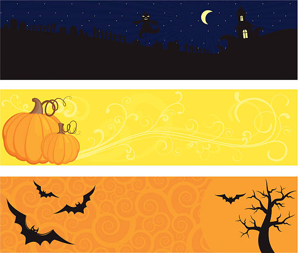 Halloween banner set Three Halloween web banners with bats, old house, moon, spooky tree, graveyard, pumpkin. Space for copy/text. Separate layers.  spooky halloween town stock illustrations