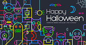Abstract Geometric halloween template