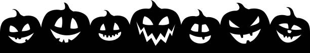 halloween banner with funny silhouettes of pumpkins. vector. - pumpkin stock illustrations