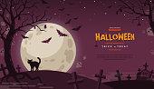Halloween Banner with Moon