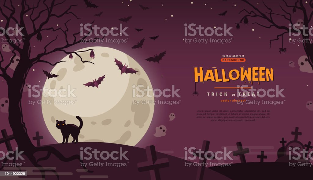 Halloween Banner with Moon vector art illustration