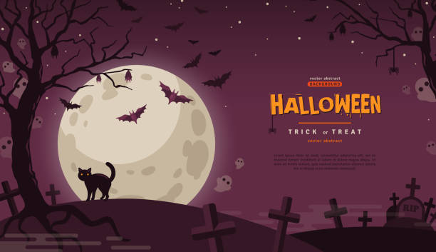 Halloween Banner with Moon Halloween Banner with Cat at Cemetery. Vector Flat Illustration. Full Moon Night in Spooky Forest. Place for text halloween cat stock illustrations