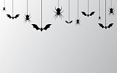 Halloween Banner with spiders for banner, poster, greeting card, party invitation