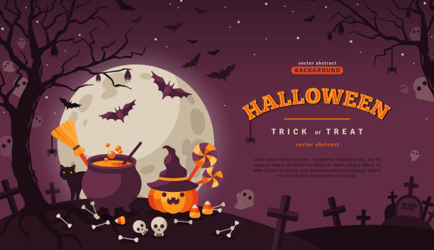 halloween banner with spooky forest - halloween candy stock illustrations