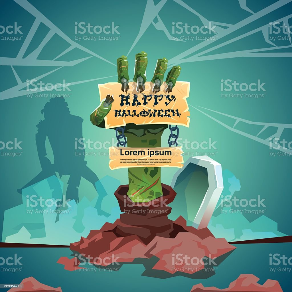 Halloween banner zombie hand from ground party invitation card halloween banner zombie hand from ground party invitation card download vetor e ilustrao royalty free stopboris Choice Image