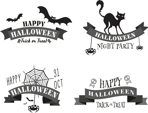 Halloween banners, badges and design elements