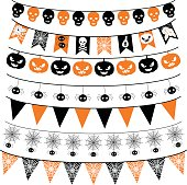 Halloween banners in orange and black. Bunting background and flags.