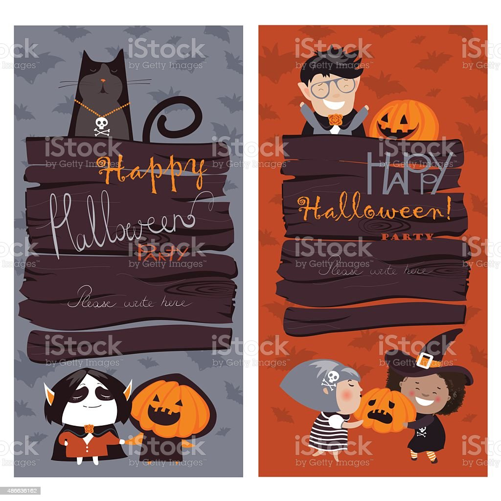 Halloween Banners Set vector art illustration