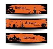 Set of halloween banners on a watercolor stains background. Vector illustration