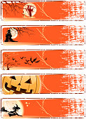 drawn of vector halloween banners.