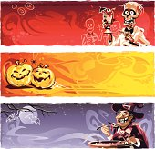 Three Halloween banners. A skeleton barkeeper presenting a disgusting, bloody cocktail, two laughing pumpkins and a smiling witch standing behind a cauldron tasting an ugly soup.