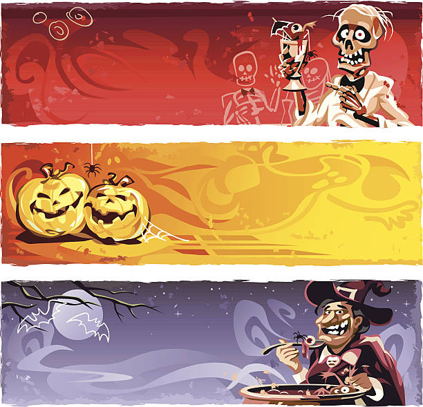 halloween banners - vegetable blood stock illustrations, clip art, cartoons, & icons