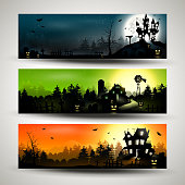 Set of three Halloween banners..
