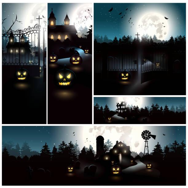 Halloween banners Big vector set of Halloween banners scary halloween scene silhouettes stock illustrations