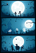 Halloween banners with big full moon, ghosts and zombies. Vector