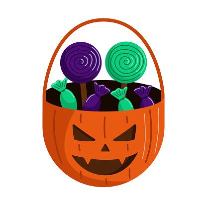 Halloween basket with sweets