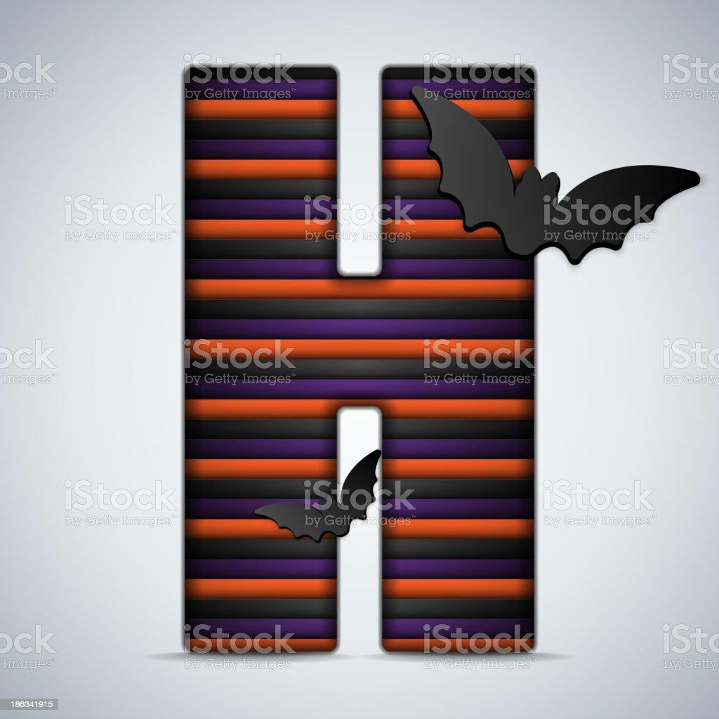 Halloween Bat Alphabet Letters Stripe Black Orange Purple royalty-free stock vector art