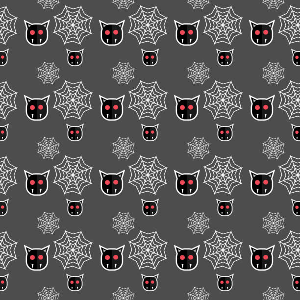 Halloween bat and web seamless pattern Halloween bat and web seamless pattern. vector illustration for fashion textile print and wrapping with festive design. tarantula stock illustrations
