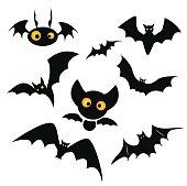 Halloween bat clip art illustration isolated on a white