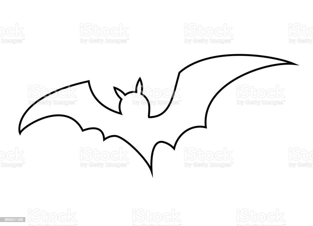 halloween bat outline vector design isolated on white backgroud royalty free halloween bat outline vector - Bat Outline