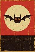 Grunge Halloween Bat Sign