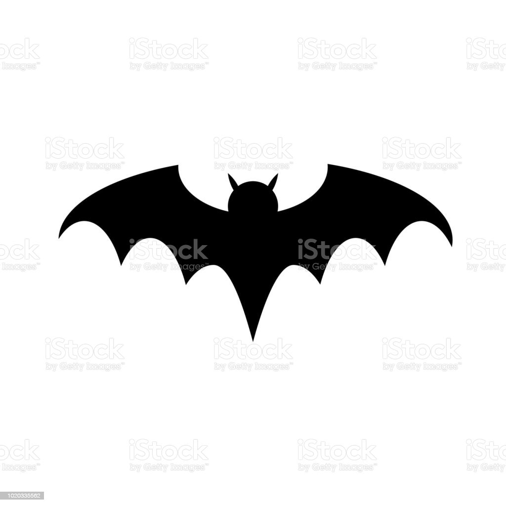 halloween bat silhouette flat icon vector for your web site design app ui