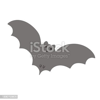 istock Halloween bat simple fancy vector illustration, hand drawn gray animal cartoon spooky character for autumn holiday decor element, cards, banners 1330703820