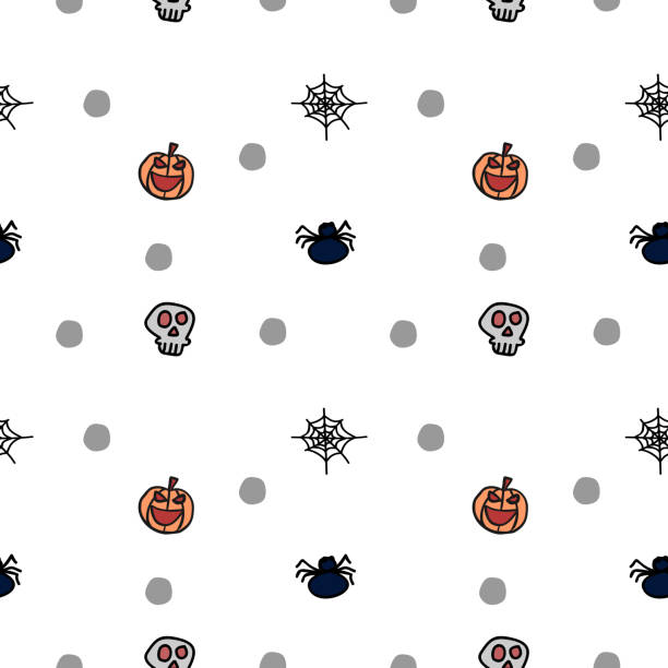 Halloween bat skull and spider creepy seamless pattern Halloween bat skull and spider creepy seamless pattern. vector illustration for fashion textile print and wrapping with festive design. tarantula stock illustrations
